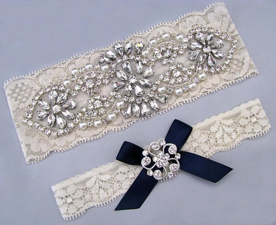 Mariage - Navy Blue Wedding Garter, Something Blue, Rhinestone Crystal Bridal Garter Set, Ivory / White Lace Garter, Keepsake Toss Garter, Prom Garter