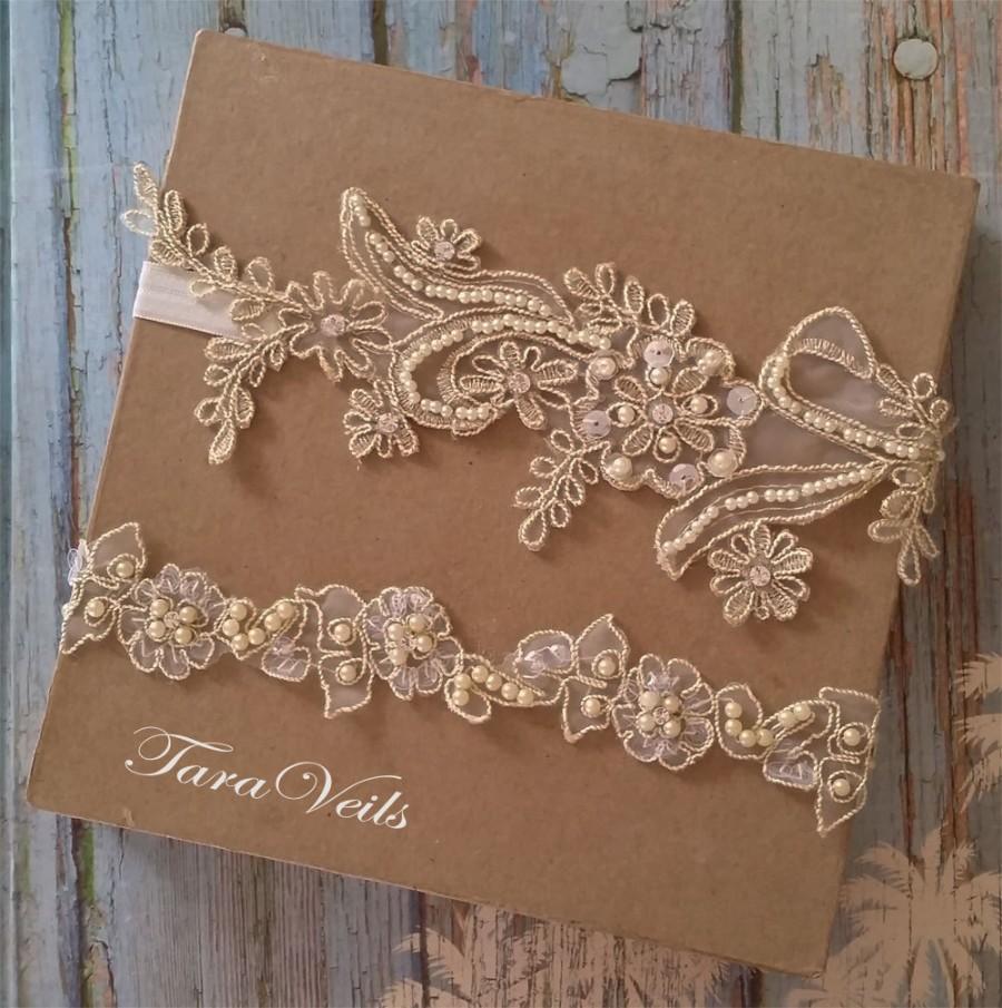 Mariage - Wedding garter set, gold Garter,Rhinestone light gold Garter, Bridal garters light gold ,bridal garter,Floral lace garter,Garter Set