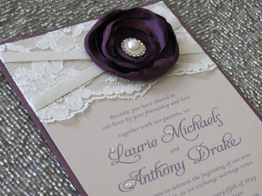 Wedding - SABRINA: Plum and Champagne Lace Wedding Invitation, Purple Flower Wedding Invitation, Romantic Ivory Wedding Invitation, Vintage Invite