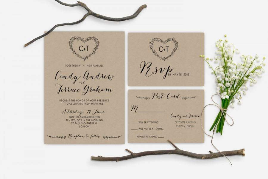 Printable Rustic Garden Wedding Invitation, Minimalist Wedding ...