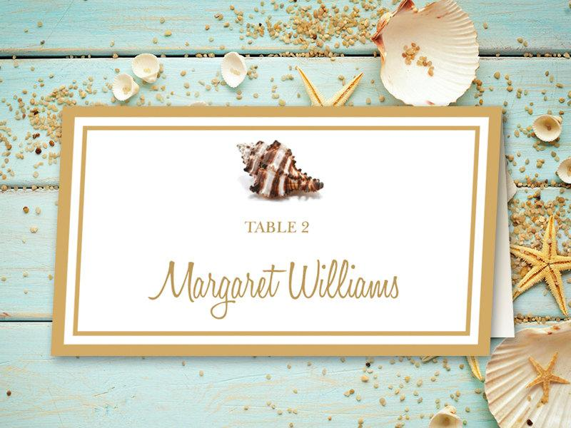 Beach wedding place card printable template seashell for Wedding place name cards