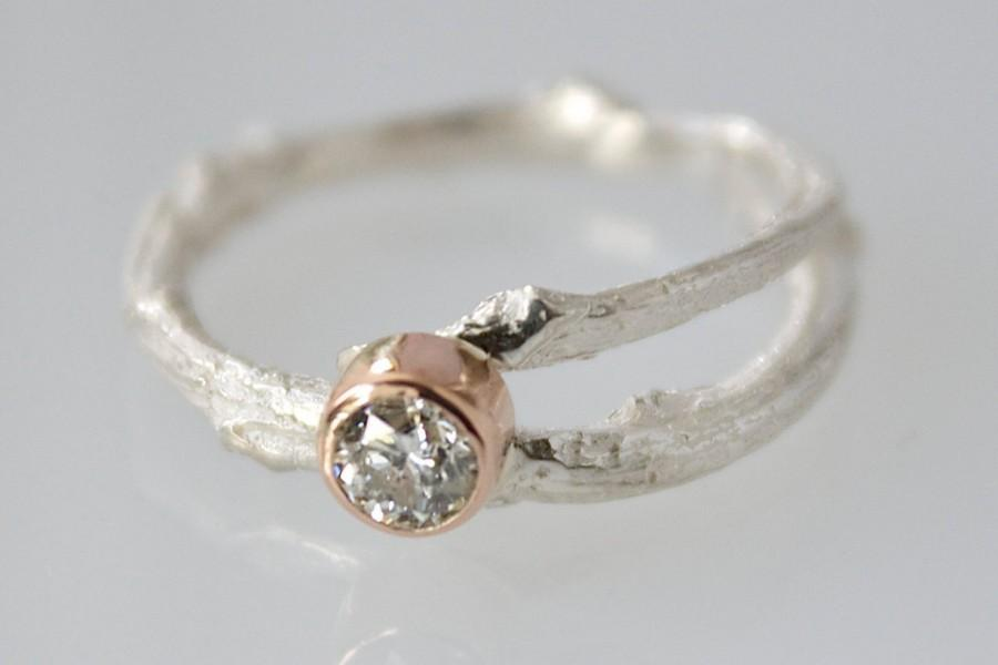 Mariage - Woodland Silver and Gold Twig Ring