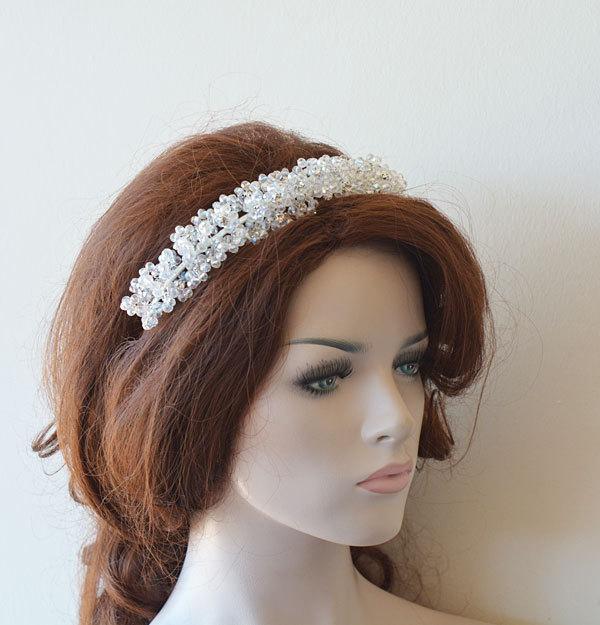 Wedding - Marriage  Bridal Hair Crown, Wedding Crystal Beads Tiara, Wedding Headband, Wedding Crown,  Bridal Hair Accessory, Wedding hair Accessory