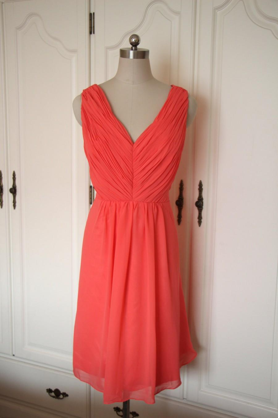 Mariage - Coral V-neck Short Bridesmaid Dress Short Chiffon Coral Bridesmaid Dress-Custom Dress