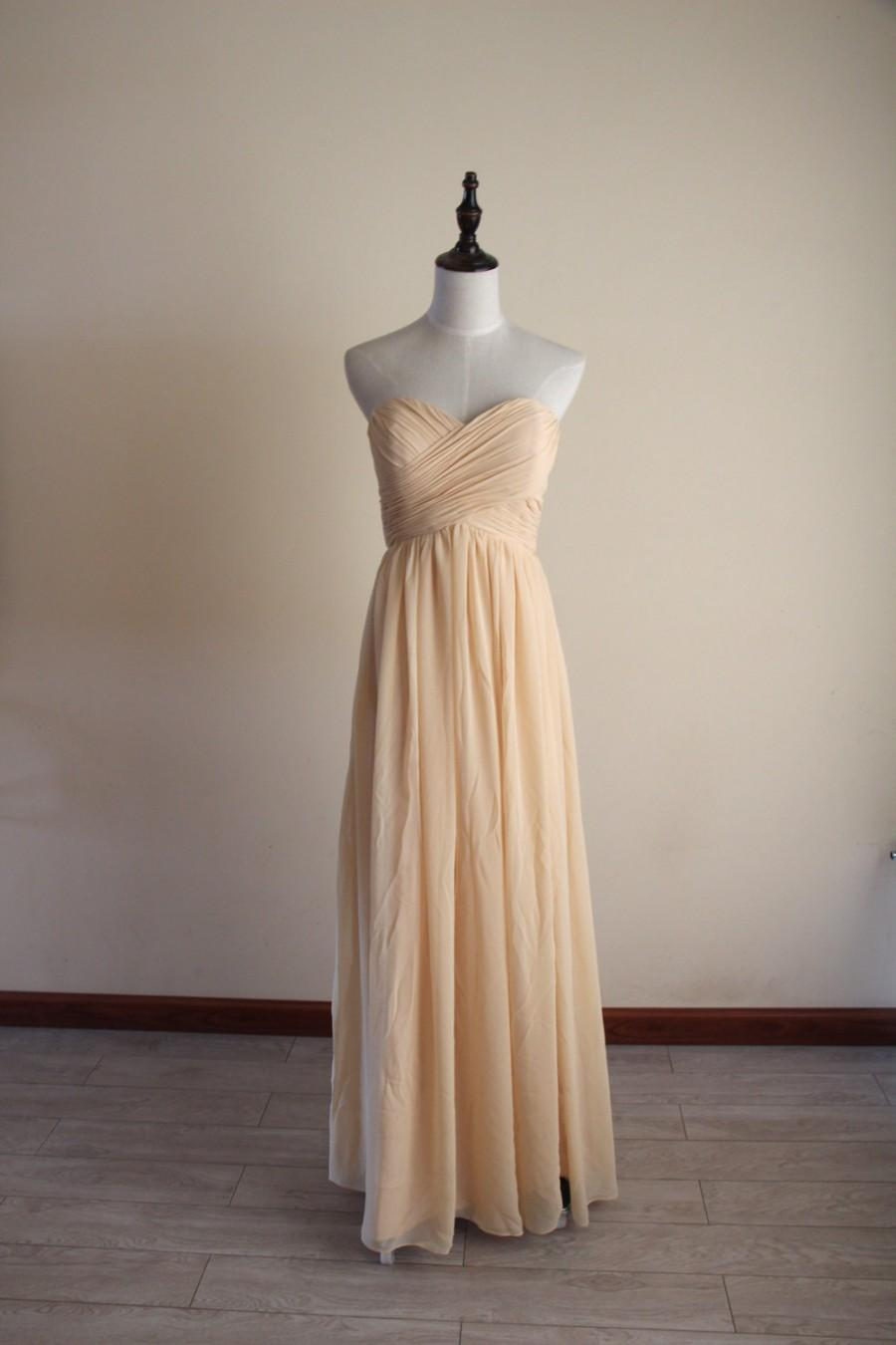 Mariage - Light Golden Bridesmaid Dress Floor-length Sweetheart Chiffon Light Gold Long Bridesmaid Dress-Custom Dress