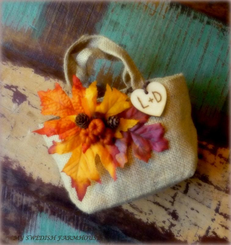 Mariage - Burlap Bag Flower Girl Basket with Pumpkins and Leaves Rustic FALL Wedding Decor Personalized Wood Heart Charm