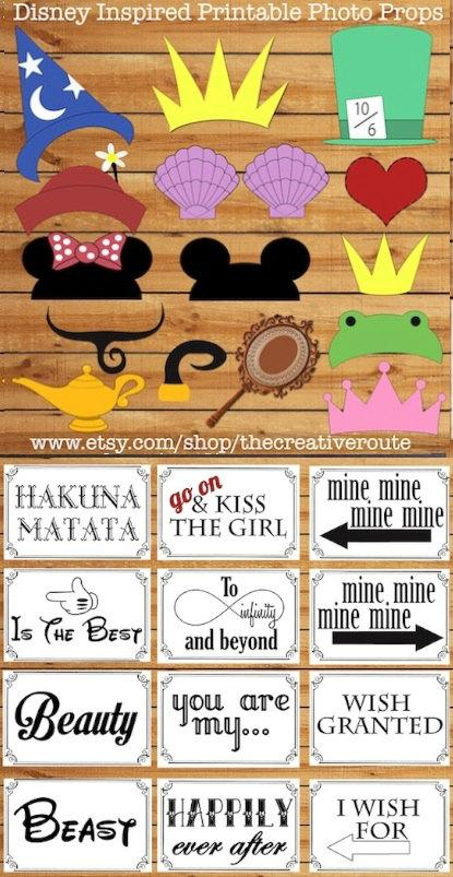 Mariage - Disney Inspired Photo Props Printable Large Funny  DIY  24 photo booth props for party, wedding, or photo shoots. Photobooth props