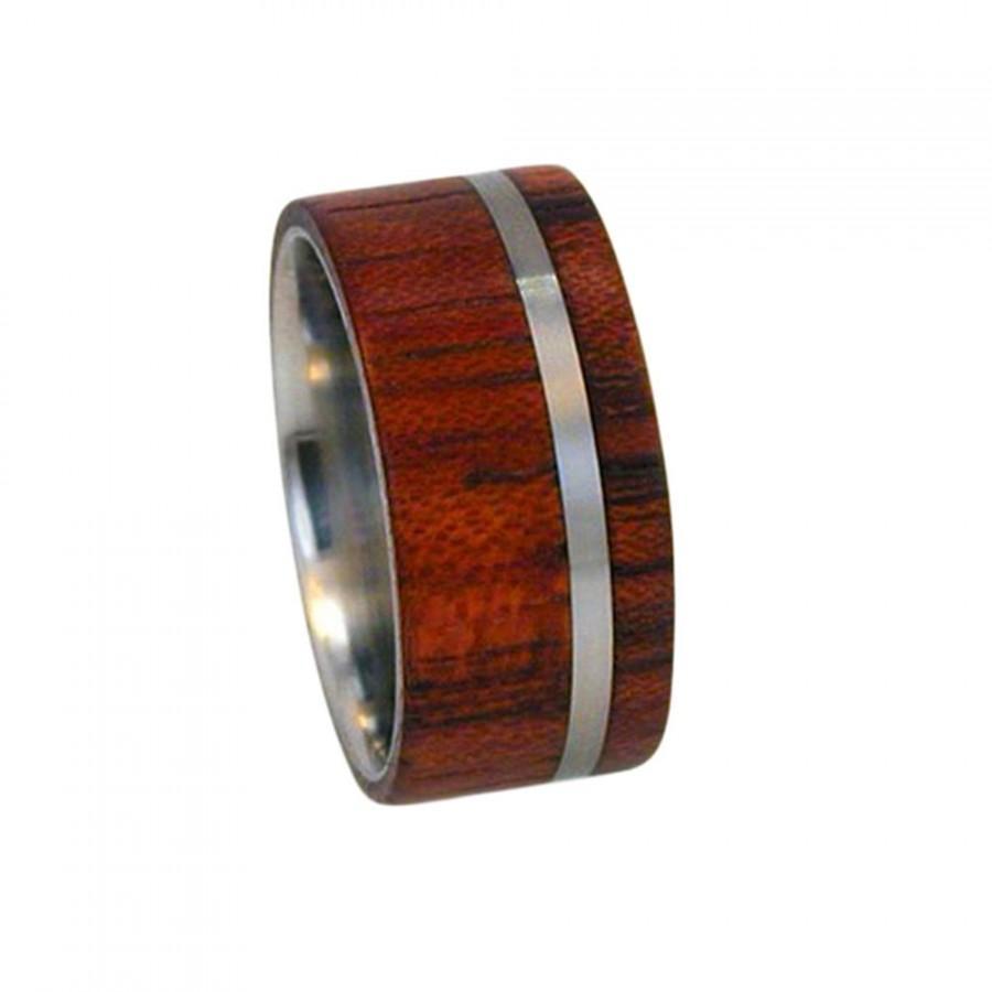 Mariage - Titanium Ring, Titanium Wood Ring with Bubinga Wood Inlay, Ring Armor Included
