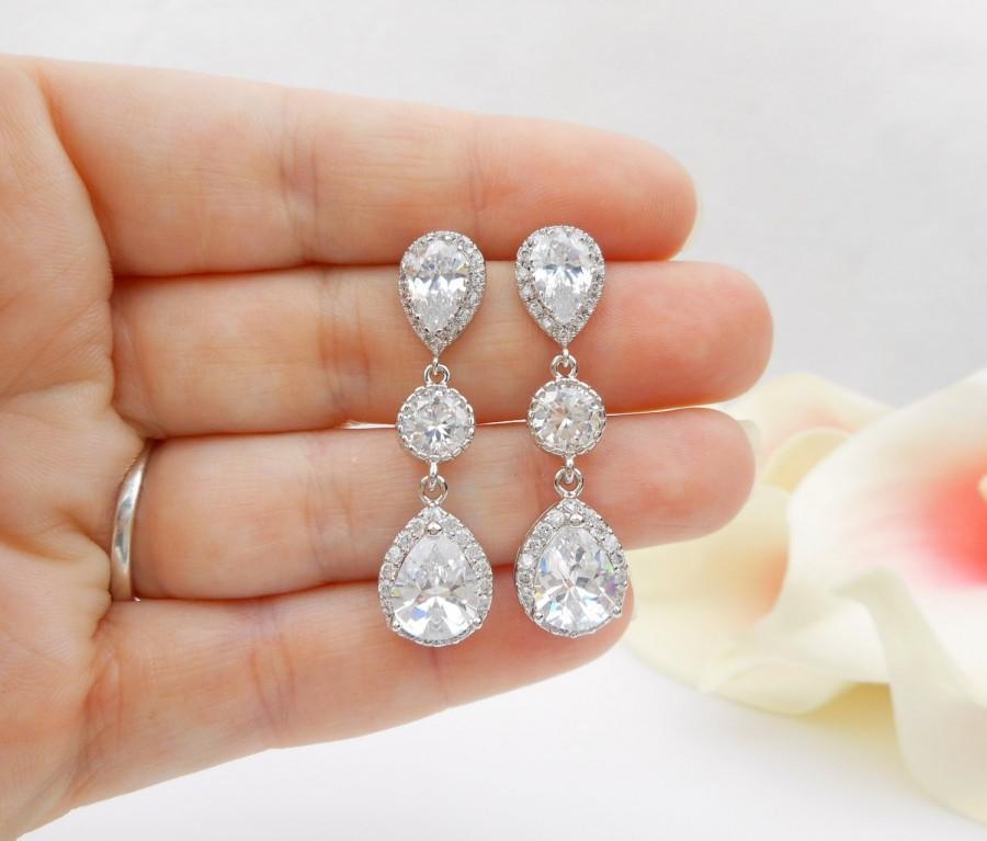 Hochzeit - Long Cubic Zirconia Teardrop Bridal Earrings Long CZ Bridal Earrings Simulated Diamond Bridal Earrings Statement Earrings FREE US Shipping