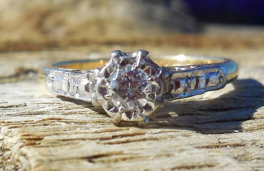 Vintage Antique 20ct Transitional Cut Diamond Unique Engagement