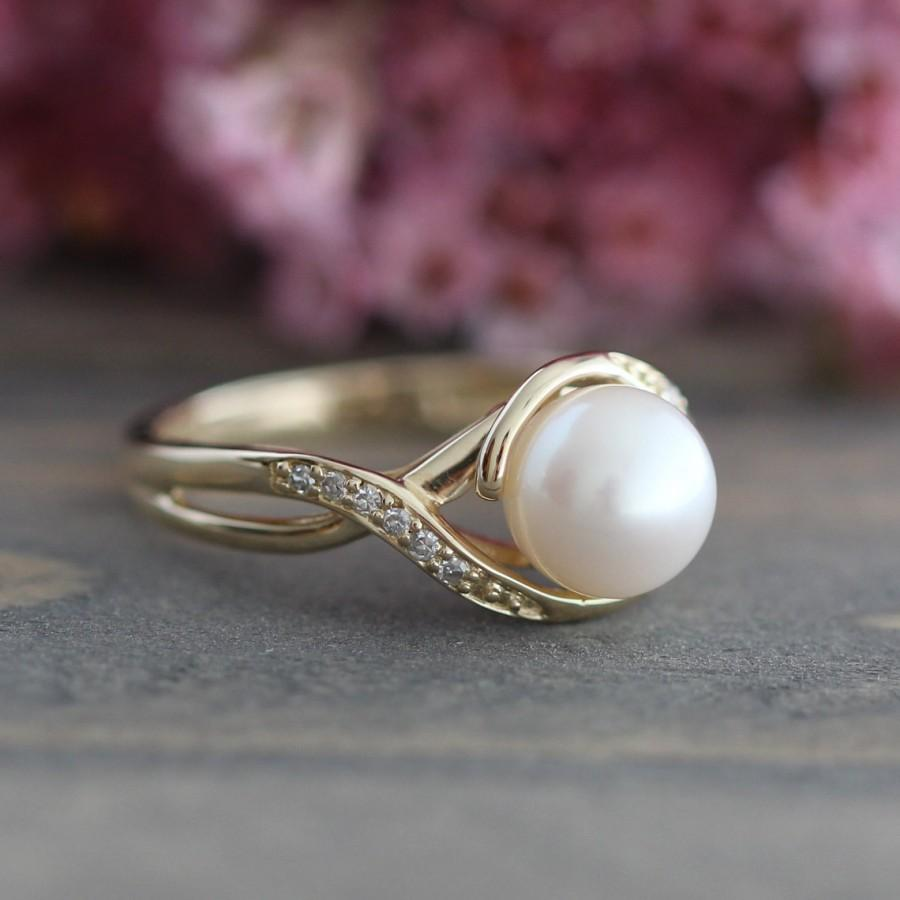 Pearl engagement ring in 10k yellow gold infinity diamond for Pearl engagement ring with wedding band
