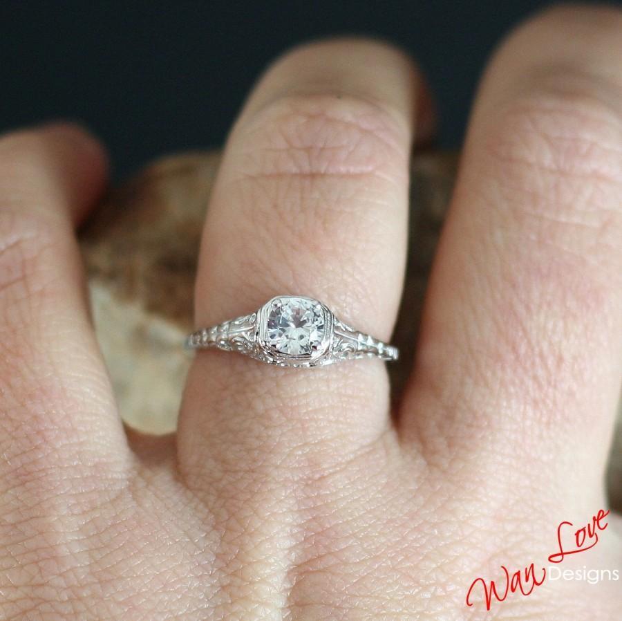 White Sapphire Engagement Ring Solitaire Antique Filigree Round 75ct 5mm  14k White Yellow Rose Goldcustomweddinganniversaryplatinum