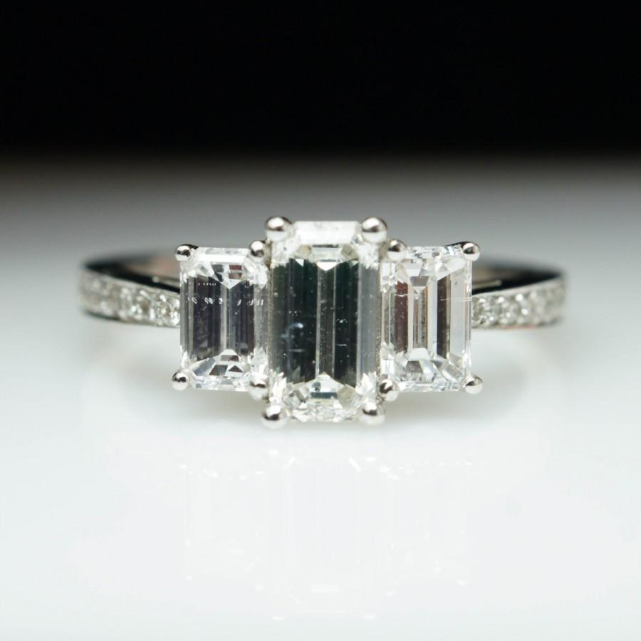Diamond Engagement Ring 3 Stone Emerald Cut Wedding Ring 14k White Gold Diamond  Ring Wedding Ring Bridal Engagement Bridal Jewelry