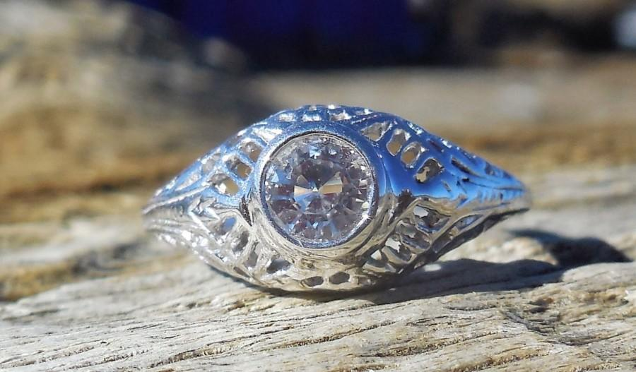 Wedding - Vintage Antique .50ct Natural White Sapphire Unique Engagement Ring 1920's Art Deco  Bezel Set 14k White Gold Filigree