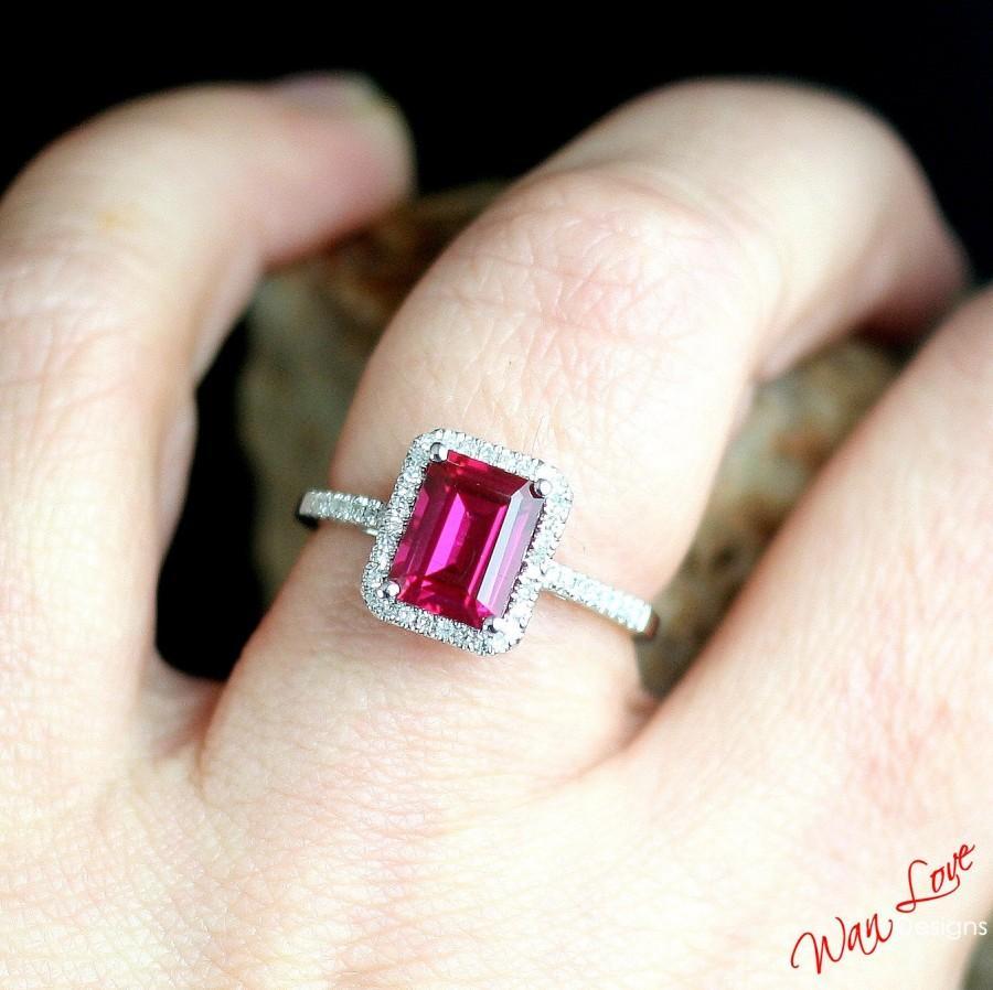 Ruby Diamond Halo Engagement Ring Low Profile Emerald Custom 2ct 8x6mm Wedding Anniversary 14k 18k White Yellow Rose Gold Platinum