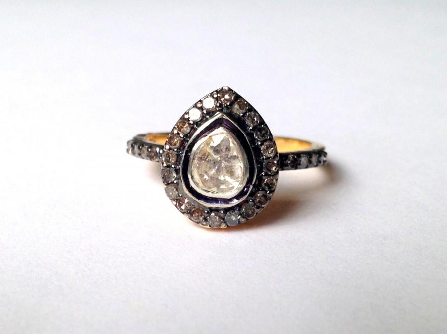 Wedding - Victorian 925 solid sterling silver engagement ring with uncut pear shaped polki diamond solitaire and diamonds