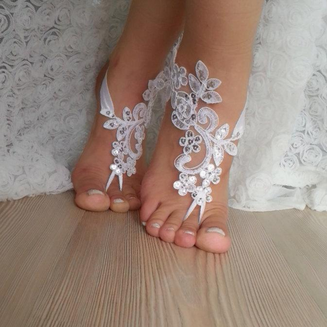 Mariage - white scaly Barefoot , french lace sandals, wedding anklet, Beach wedding barefoot sandals, embroidered sandals sexy , party wedding