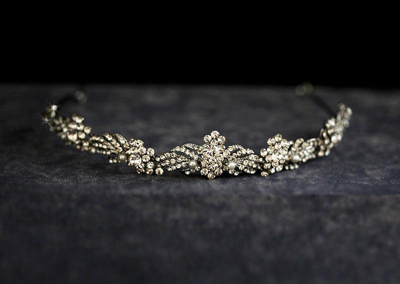 Wedding - Crystal Tiara, Wedding Hair Accessory, Headpiece, Bridal hair, Veil, Kate, Bridal jewelry, Wedding