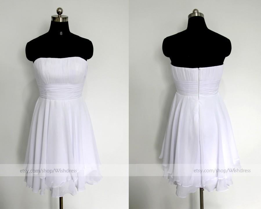 Mariage - Handmade Bridesmaid Dress/ Chiffon Bridesmaid Dress/ White Homecoming Dress /Bridal Party Dress /Mismatch Bridesmaid Dress by wishdress