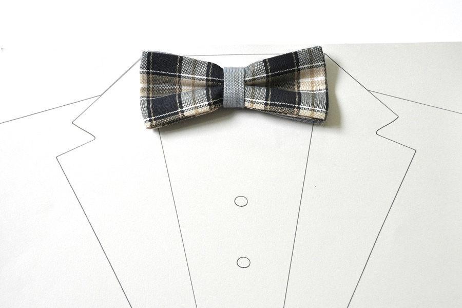 Wedding - Plaid Men's Bow Tie in black, white, beige, grey Bow tie for men Pre tied bow tie Gingham bow tie Wedding bow tie Groom bow tie Checkered