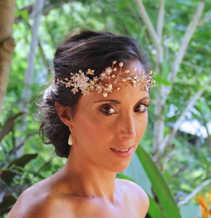 Свадьба - Gold Hair Vine, Blush Bridal Hair Vine, Pearl and Crystal Hairpiece, Silver or Gold Wedding Hair Vine, JUNIPER