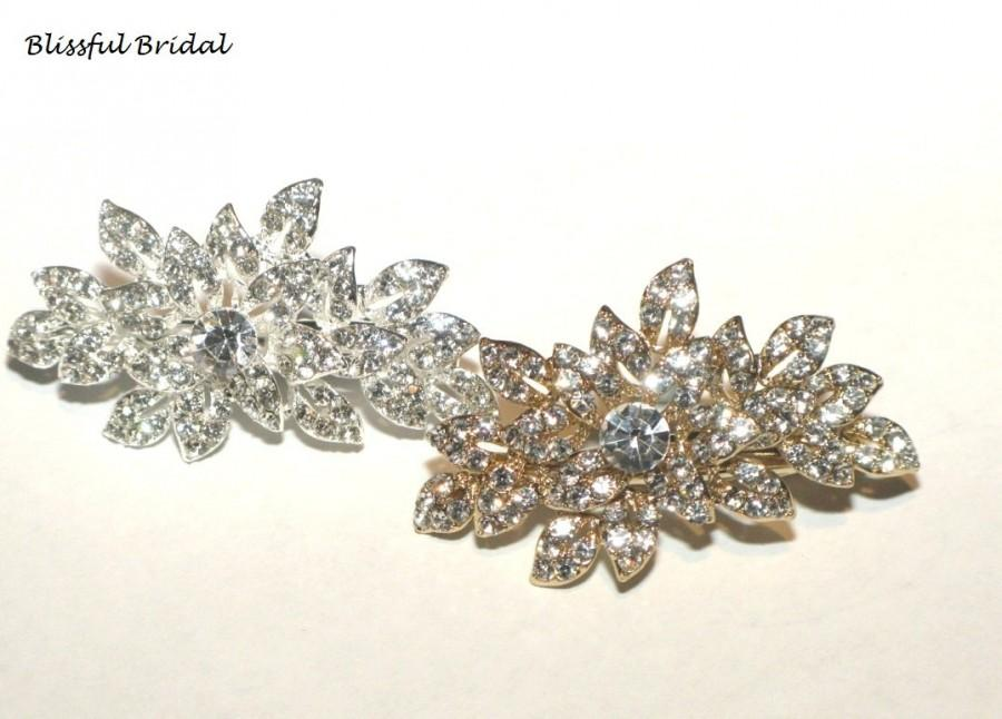 Wedding Hair Clip Crystal Accessories Gold Rhinestone Clips Bridal Jewelry