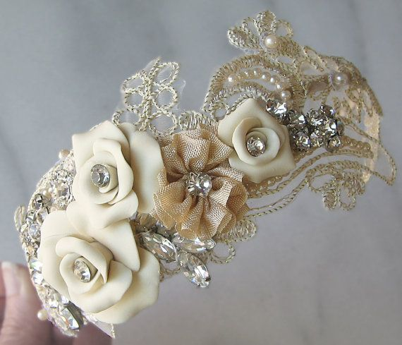 Mariage - Champagne Lace Headband With Vintage Rhinestones And Pearls