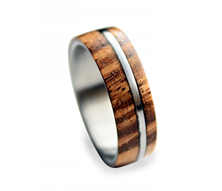 Wedding - Titanium ring for men with zebrano wood inlay