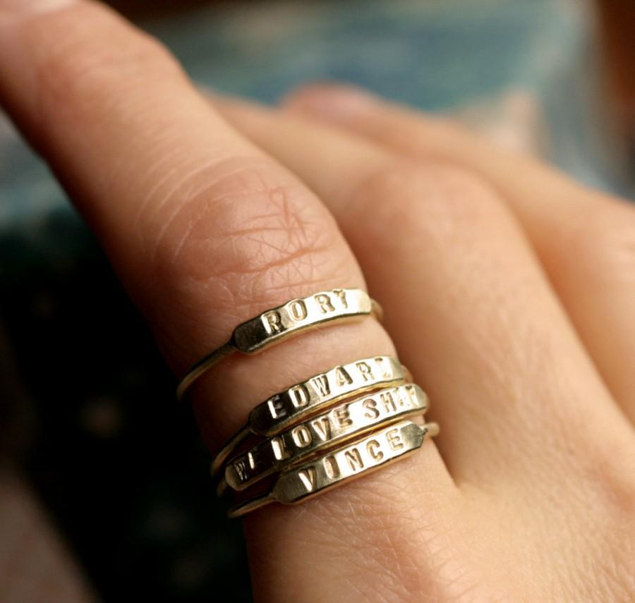 Düğün - stackable name ring initial ring silver id ring gold stacking ring personalized ring gold name ring hand stamped stacking name ring ID RING
