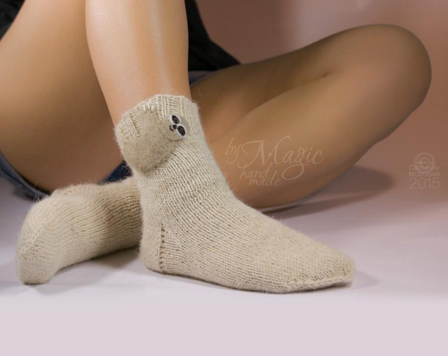 Свадьба - Hand knitted socks with needle felted sloth, knitting, wool, woman socks, warm, woman clothing, hand knit socks, winter gift, unique, autumn
