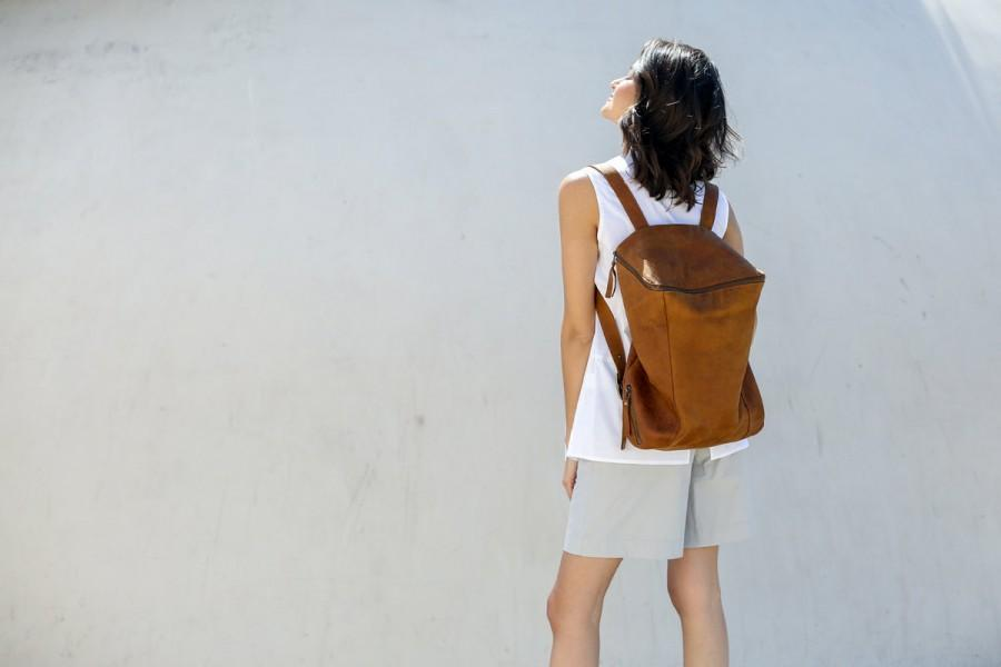 Свадьба - New! Brown Leather Backpack Travel Bag, Large Backpack, Honey Brown Leather Bag, Hand Made