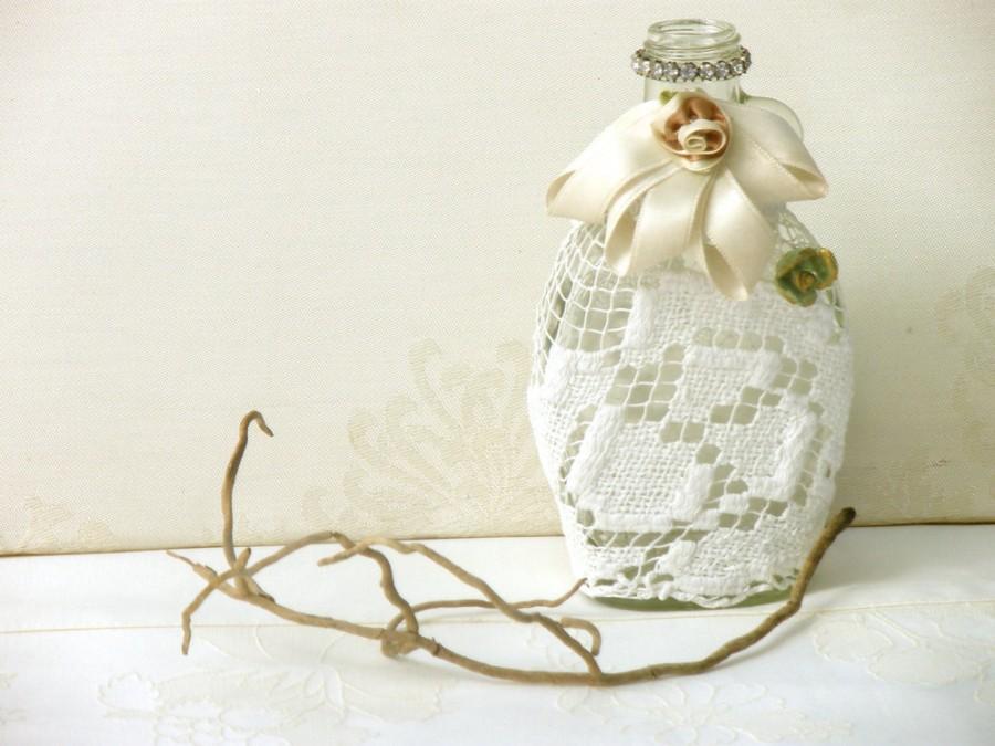 Wedding - Crochet Lace Bottle, Eco Friendly Home Decor, Upcycled  flower Vase, Antique  burlap crochet Bottle, Rustic Table  Shabby chic Decor.