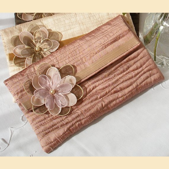 Свадьба - wedding clutch bag handmade in quilted silk with flower corsage -  'Evelyn' design, available in dusky rose, blush, chocolate or  silver