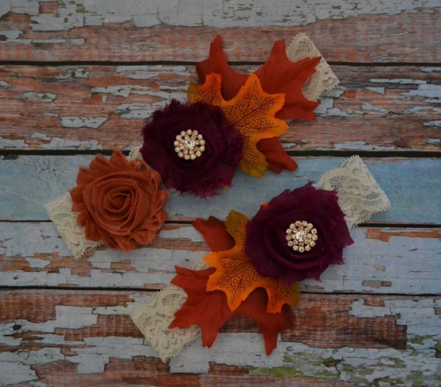 Mariage - Wedding Garter, Fall Wedding Garter Set, Rustic Garter Set, Autumn Burnt Orange and Plum Frayed Flowers and Fall Leaves Bridal Toss Garter