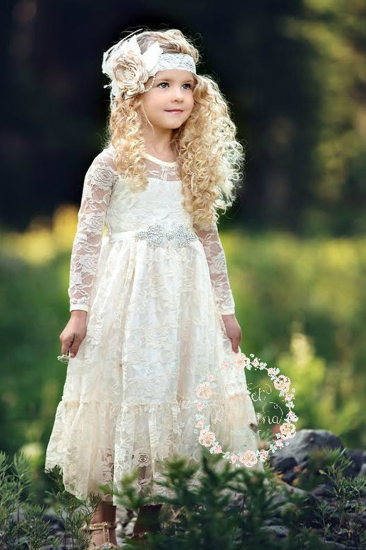 Flower girl dress girl lace dress country lace dress for Country wedding flower girl dresses