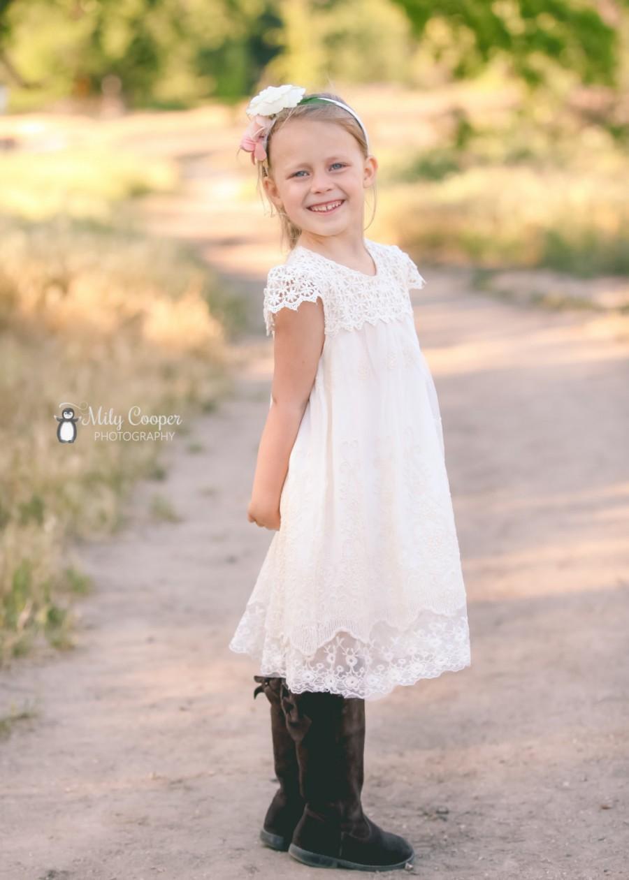 زفاف - Ivory cream flower girl dress, lace flower girl dress, baby girl dress, french summer dress, girl dress, lace dress,toddler dress size 2T-10