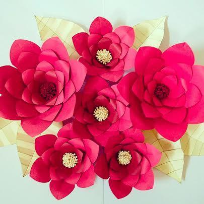 DIY Backdrop Wedding Decor, DIY Paper Flower Templates, Paper Flower ...