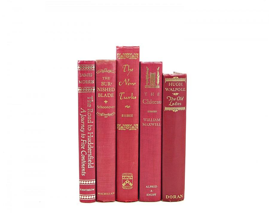 Red Antique Book Set Decorative Books Photo Props Vintage Collection Old Decor Instant Library Home Decoration