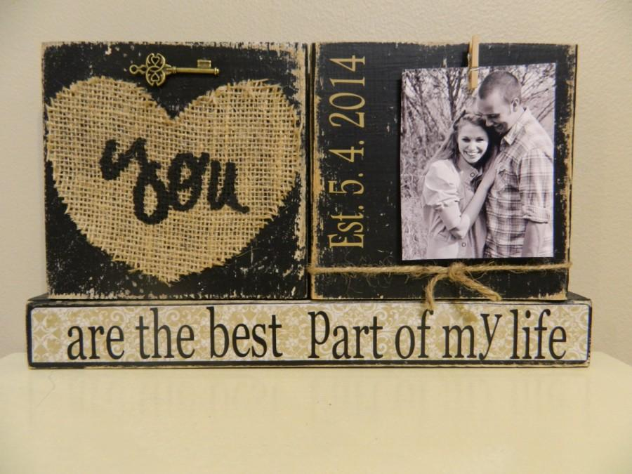 Mariage - Wedding decoration gift black shabby chic burlap love quote personalized gift with photo black and white home decor wedding bride groom gift