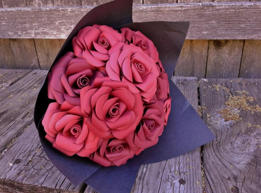 Mariage - Paper roses bouquet (12 roses)