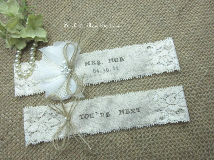 Hochzeit - Personalized Monogrammed Wedding Garter Set ,Rustic Country Chic Wedding Garter Set,Wedding Garters