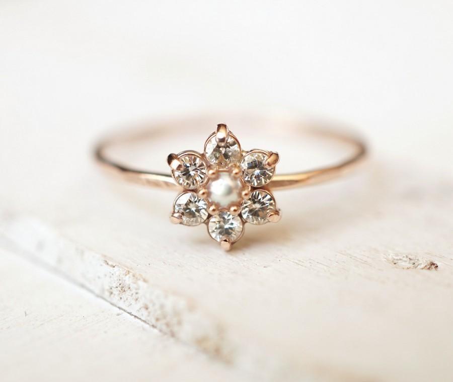 Wedding - Moissanite Ring, Daisy Ring, Flower Ring, Cluster Ring, 14k Gold Ring, Engagement Ring, Delicate Stack Ring, Alternative Ring, Promise Ring