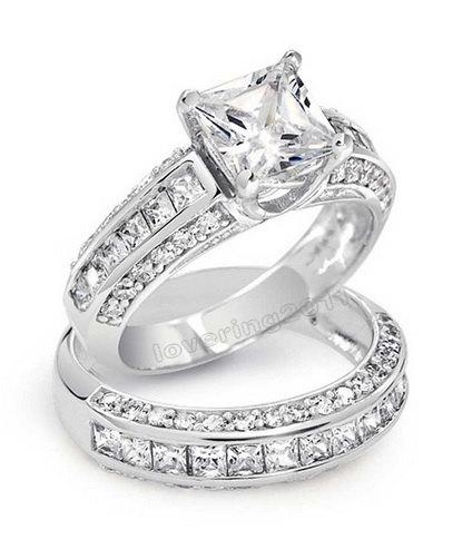 Wedding - 3.62ct Princess Cut Wedding Ring Set Engagement Ring Wedding Band Diamond Simulated CZ 925 Sterling Silver Platinum ep Women's Bridal Set
