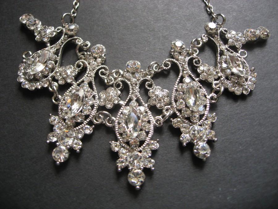 Mariage - Vintage Style Bridal Wedding Chandelier Jewelry Rhinestone Crystals Necklace, Bridal Necklace, Wedding Necklace, Rhinestones Necklace,
