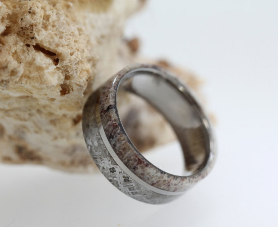 Hochzeit - Titanium Ring, Mens Deer Antler Wedding Band, Gibeon Meteorite Ring, Mens Wedding Band