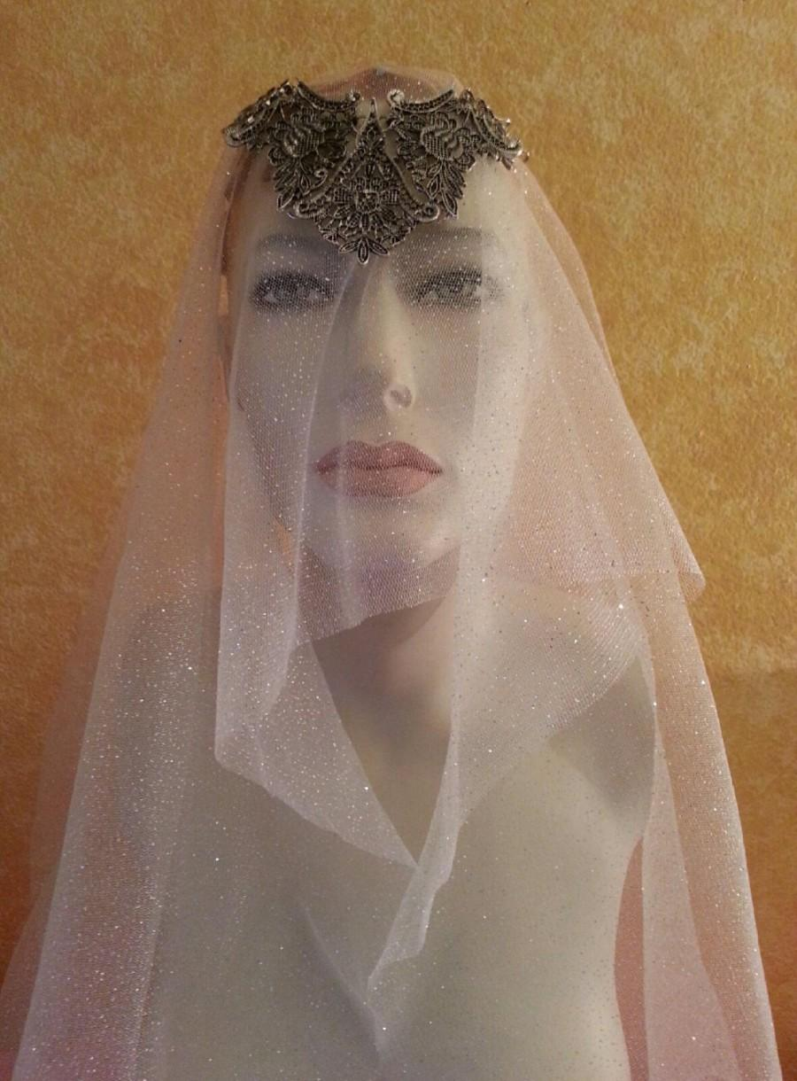 Wedding - Medieval Renaissance Pewter Tudors Goddess Silver Sparkle Tulle Bridal Headpiece & Veil Wedding Party Costume Bohemian Gypsy
