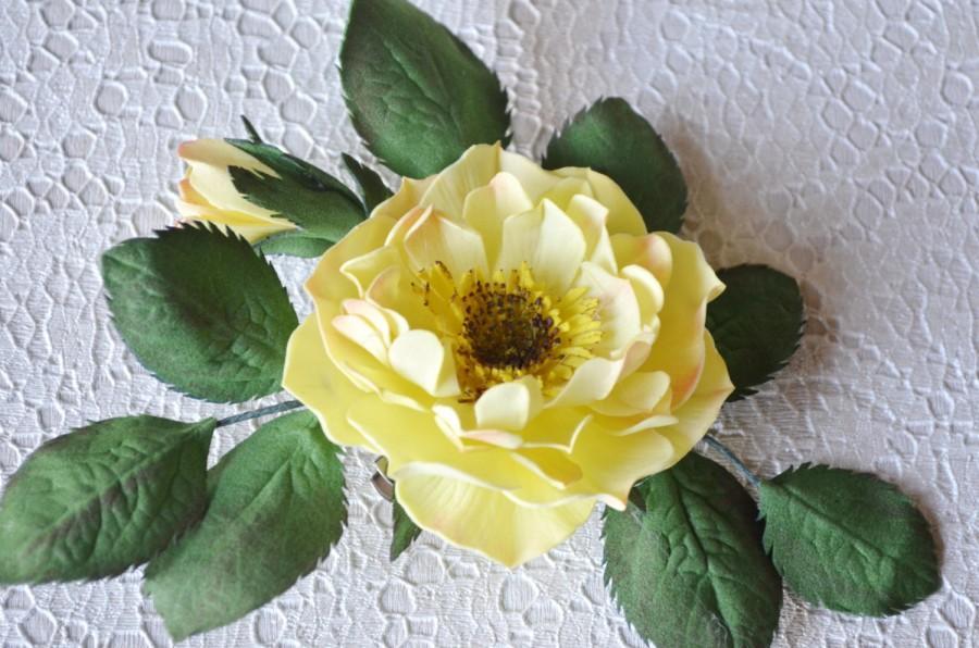 Mariage - Wedding Hair Accessory Yellow Rose, Hair Pin, Autumn Flower Bridal Brooch, Groom's Boutonniere, Bridesmaid Brooch, Groom's Accessory