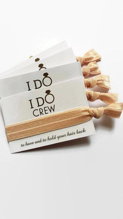 Mariage - I Do Crew / Hair Tie Favour / Bridesmaid Gifts / Hen Party / Bachelorette Party / Hen Party Favour / Bachelorette Favours / Hangover Kits