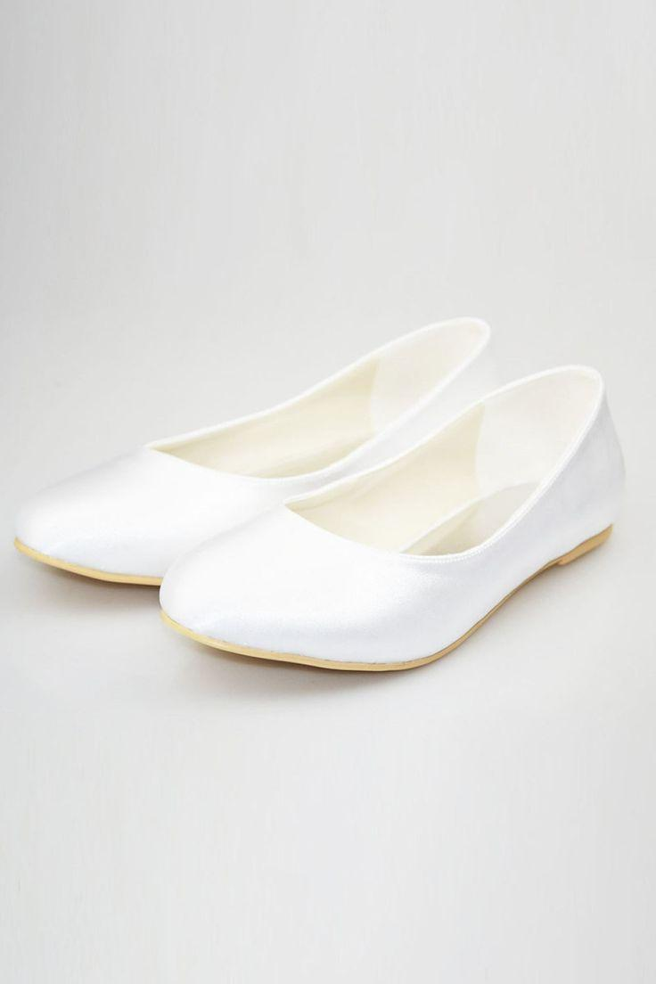 Свадьба - Simple Cheap Comfortable White Close Toe Shoes For Wedding S49