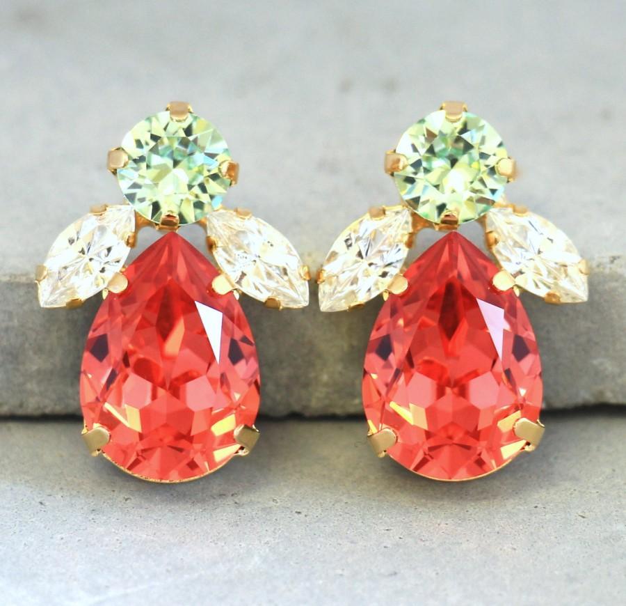 Hochzeit - Coral Mint Earrings,Peach Mint Swarovski Earrings,Crystal Swarovski Stud Earrings,Statement Bridal Earrings,Salmon pink Mint Green Earrings